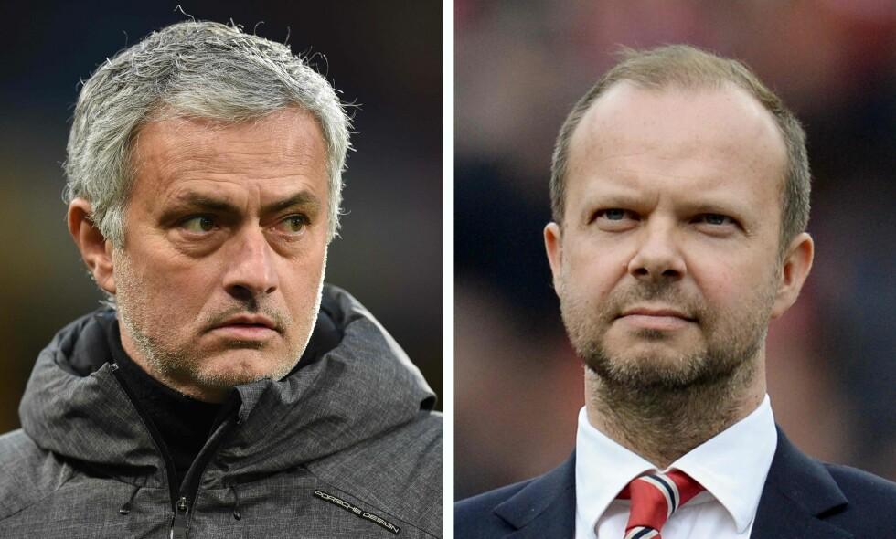KJØLIG FORHOLD: José Mourinho og United-direktør Ed Woodward. Foto: OLI SCARFF / AFP / NTB Scanpix