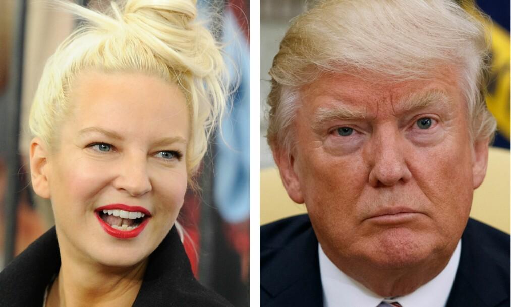 KARMA?: I 2015 hadde den australske artisten Sia en heller uheldig opplevelse etter å ha møtt daværende presidentkandidat Donald Trump, og nektet ham å ta et bilde av dem sammen. Foto: NTB Scanpix