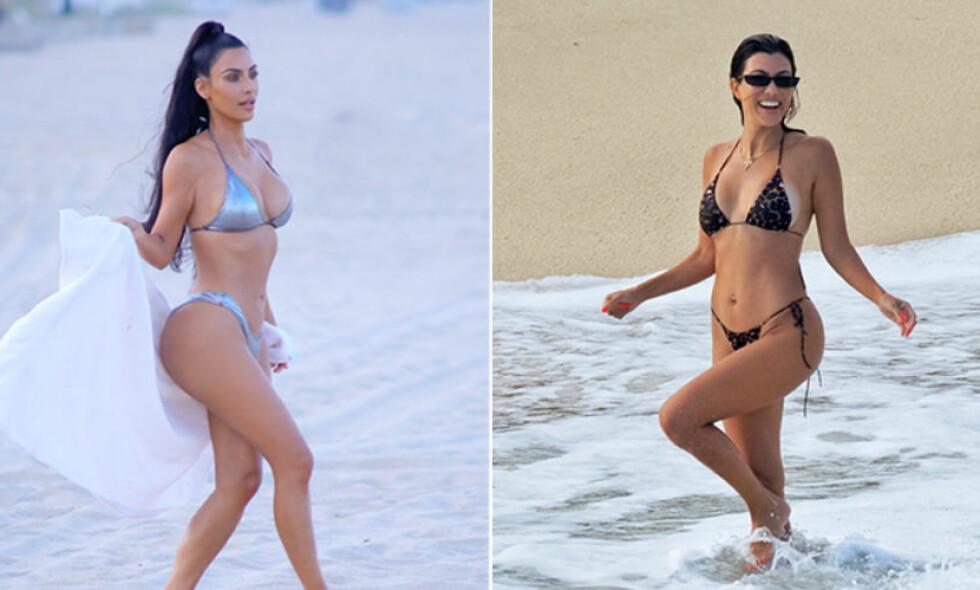 FLOTTET SEG: Søstrene Kim Kardashian og Kourtney Kardashian konkurrerte om oppmerksomheten i bikini. Foto: NTB Scanpix
