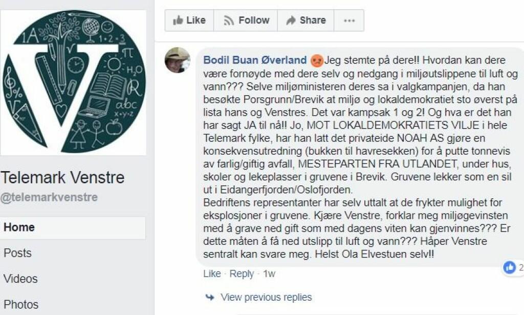 SKUFFET: Flere Venstre-velgere føler seg sveket etter at regjeringen under Venstre-statsråd Ola Elvestuen likevel åpner for statlig planprosess, til tross for valgkampløftene. Foto: Skjermdump/Facebook.