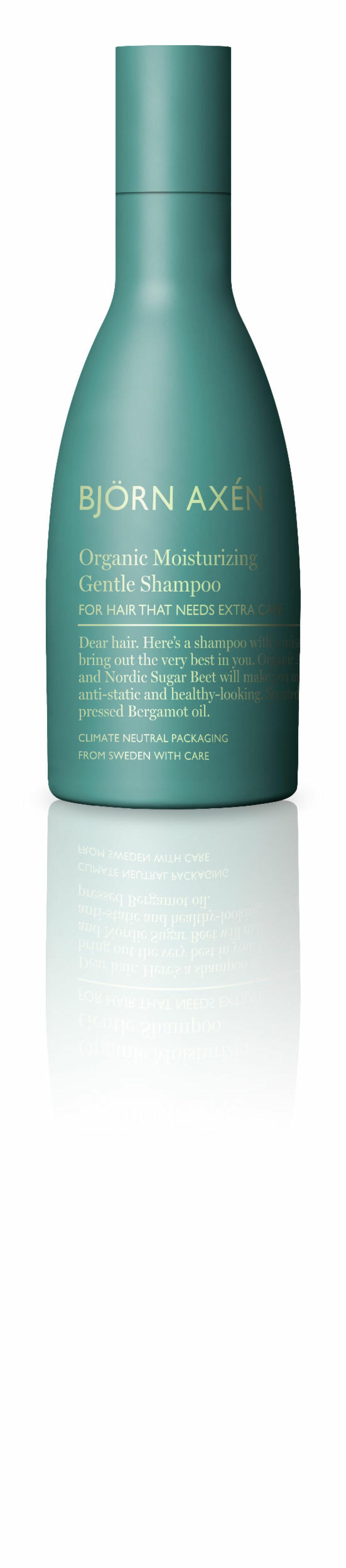 Fuktighetsgivende sjampo (kr 240, Björn Axén, Organic Miorsurizing Gentle Shampoo).