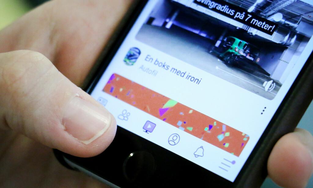 NY VIDEOTJENESTE: Nå får nordmenn en ny knapp i Facebook-appen som gir tilgang til den nye videostrømmetjenesten Watch. Foto: Ole Petter Baugerød Stokke