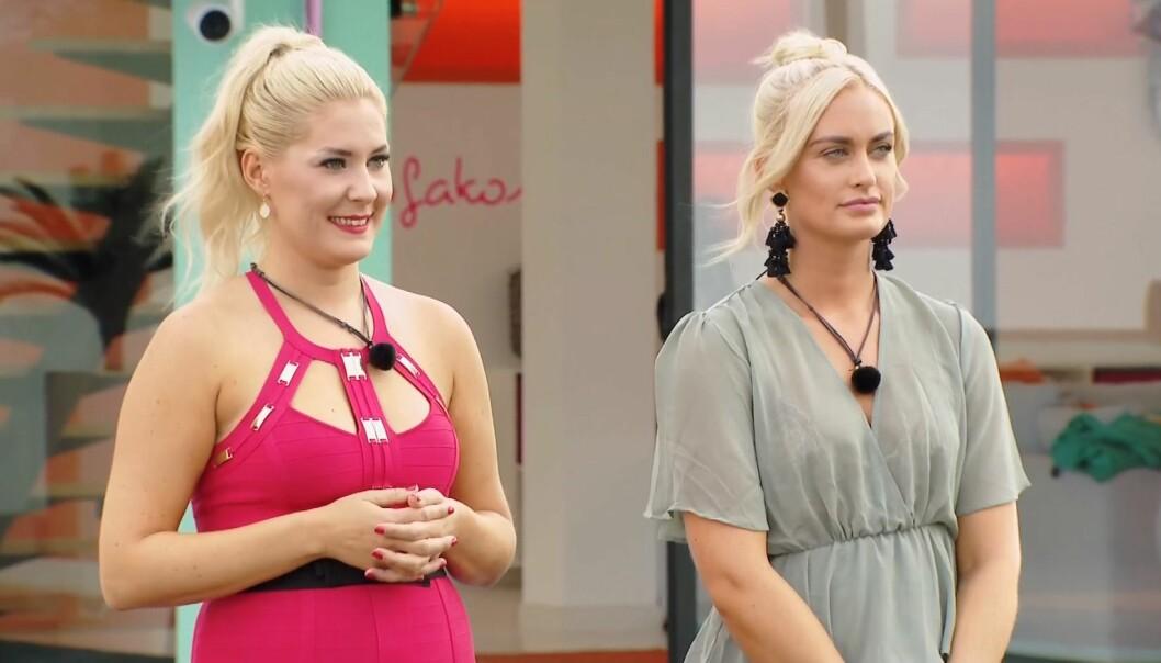 <strong>VALGETS KVAL:</strong> I kveldens episode av «Love Island» stod det til slutt mellom Sofie og Andrea da guttene skulle velge seg partnere. Foto: TV3