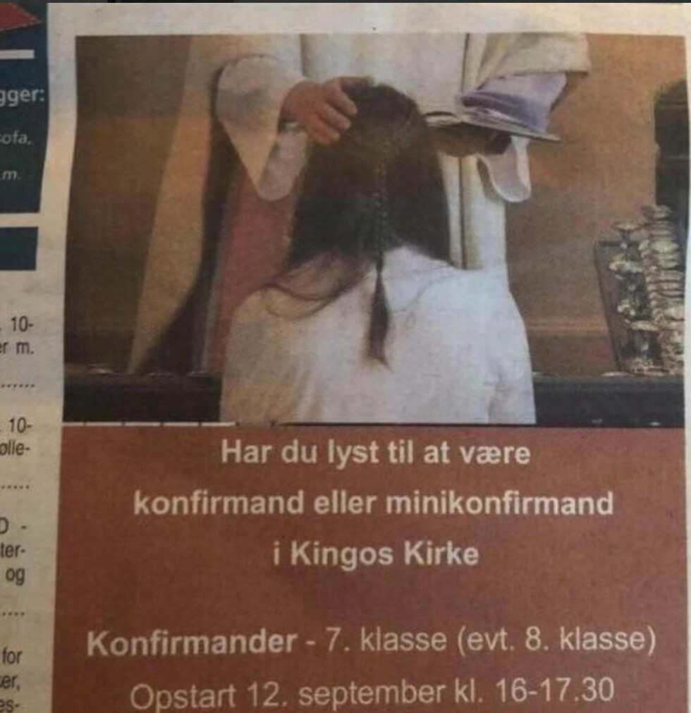 VEKKER OPPSIKT: Mange mener det ligger pedofile undertoner i kirkens annonse. Presten tar sterk avstand fra kritikken. Foto: Skjermdump/Twitter