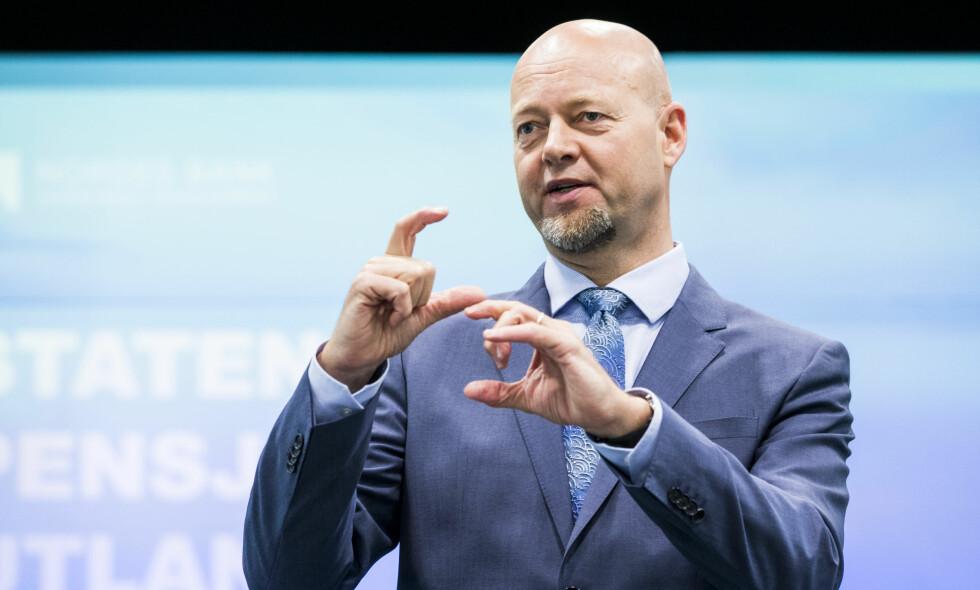 VIL UT AV OLJE OG GASS: Administrerende direktør Yngve Slyngstad i Statens pensjonsfond utland (SPU), også kjent som Oljefondet. Foto: Håkon Mosvold Larsen / NTB scanpix