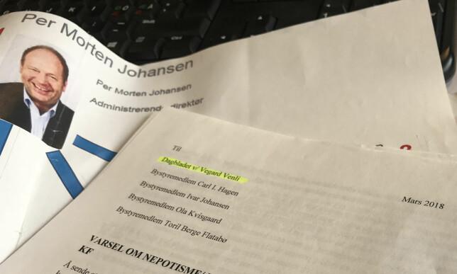 VARSEL OM UKULTUR: Dette varselet, med påstander om ukultur i Omsorgsbygg, ble i mars sendt til Dagbladets journalist og fire bystyrepolitikere i Oslo kommune. Foto: Vegard Venli/Dagbladet.