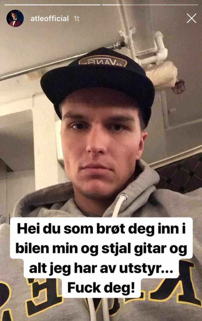 RANET: Atle Pettersen oppdaget i morges at noen hadde brutt seg inn i bilen hans. Foto: Skjermdump / Instagram