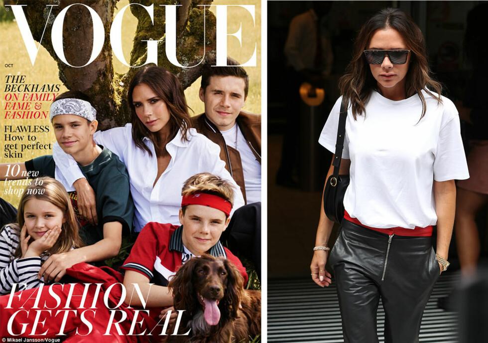 UTEN DAVID: Den nye forsiden på Vogue får flere til undre over hvor David Beckham er, når hele familien poserer uten ham. Foto: Faksimile, Vogue / NTB Scanpix