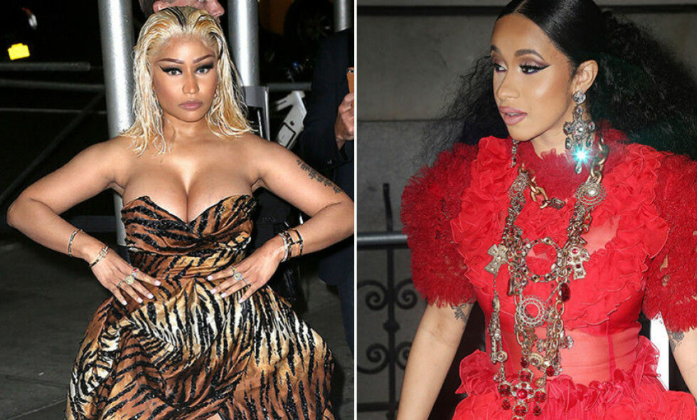 SLÅSSKAMP: New York Fashion Week endte i et basketak mellom rapperstjernene Nicki Minaj og Cardi B. Foto: NTB Scanpix