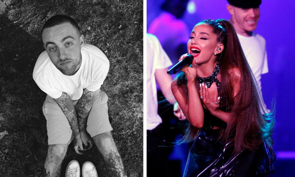SVAR: Artisten Ariana Grande la ut bildet til venstre av eks-kjæresten Mac Miller lørdag. Fredag døde Miller i sitt eget hjem i Los Angeles. Foto: Ariana Grande / Instagram / NTB Scanpix