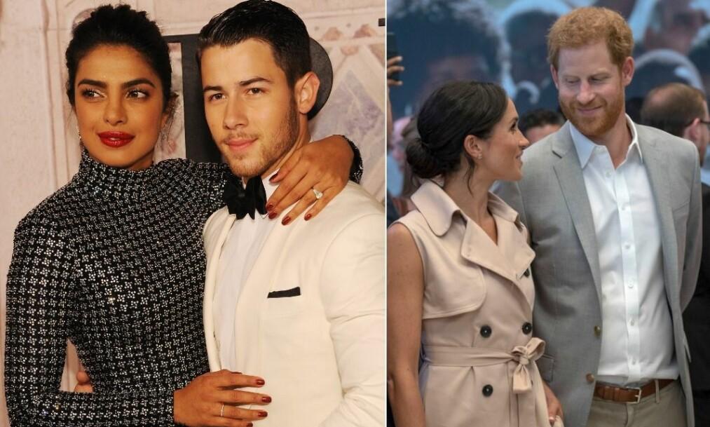 <strong>GJØR SOM HERTUGPARET:</strong> Da Priyanka Chopra og Nick Jonas ble fotografert i helgen, ble resultatet svært likt et bilde av hertuginne Meghan og hennes ektemann prins Harry. Foto: NTB Scanpix