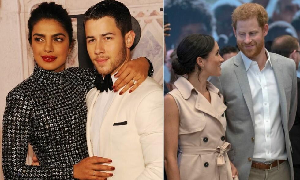 GJØR SOM HERTUGPARET: Da Priyanka Chopra og Nick Jonas ble fotografert i helgen, ble resultatet svært likt et bilde av hertuginne Meghan og hennes ektemann prins Harry. Foto: NTB Scanpix