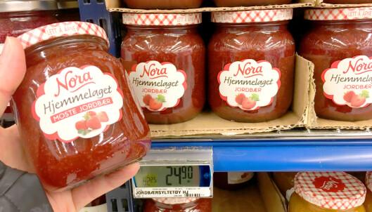 Merkelig prisforskjell på jordbærsyltetøy fra samme produsent
