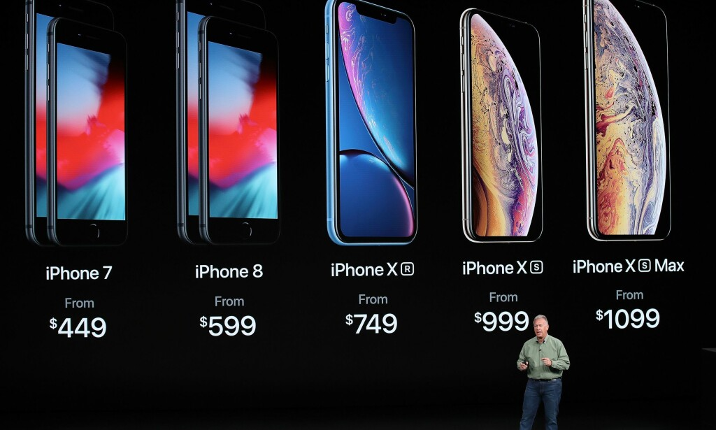 DISSE KAN DU KJØPE: Her er Apples iPhone-sortiment september 2018. Men hvilken av modellene bør du kjøpe? Foto: Justin Sullivan/Getty Images/NTB Scanpix