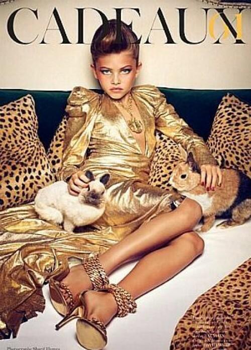 KONTROVERSIELL BARNEMODELL: En rekke bilder, deriblant dette, av den da ti år gamle Thylane Blondeau var med å skape enorme reaksjoner i 2011. Foto: Faksimile / Vogue