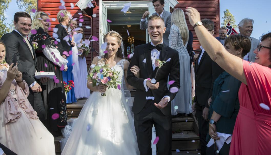 GIFTET SEG: Filip Ingebrigtsen og Astrid Mangen Cederkvist giftet seg i Mangen kapell i september. Foto: Vidar Ruud / NTB scanpix