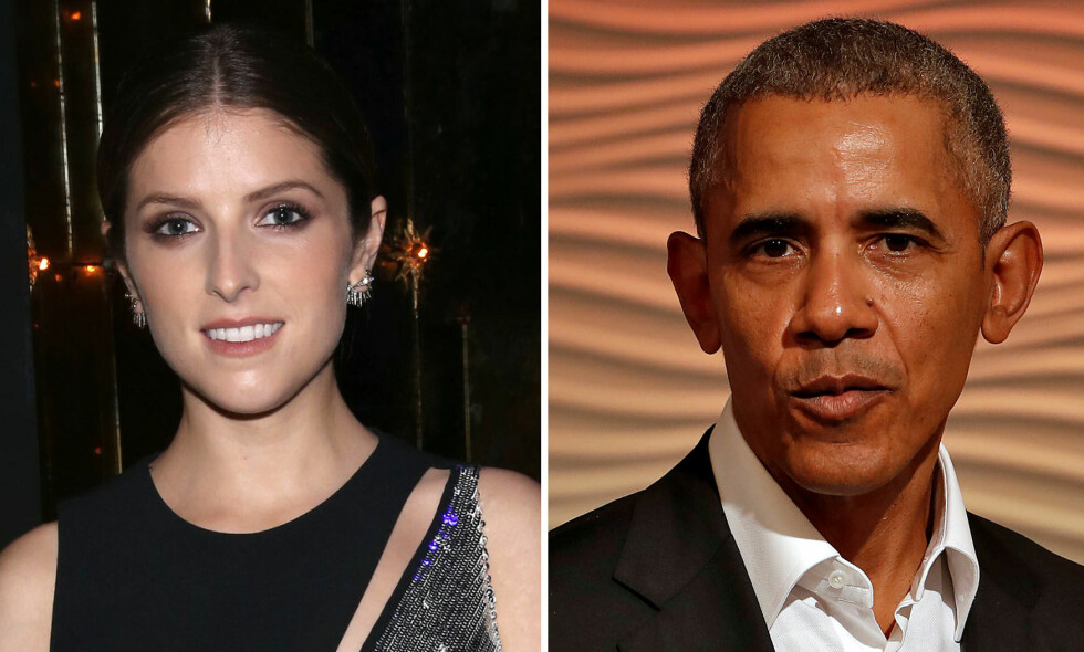 FIKK SEG EN GOD LATTER: Skuespiller Anna Kendrick møtte tidligere president Barack Obama i 2012. Møtet har nok ikke gått i glemmeboka for noen av dem. Foto: NTB scanpix