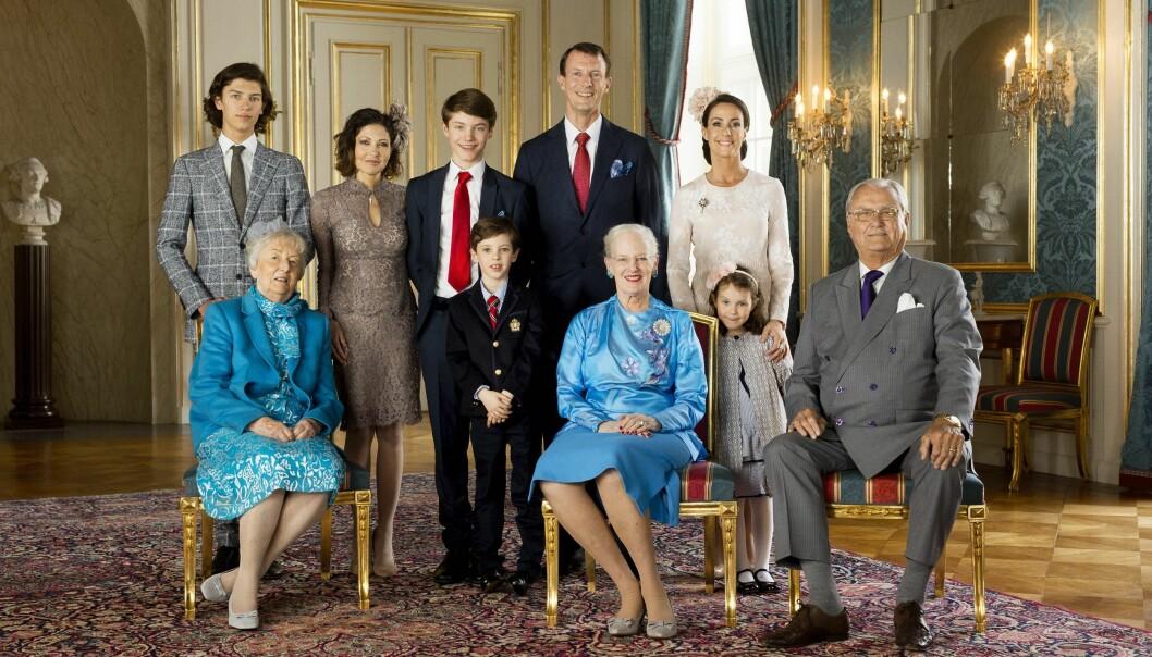 <strong>FAMILIEBILDE:</strong> I forbindelse med konfirmasjonen til Prins Felix i 2017 ble det tatt et nytt offisielt bilde av kongefamilien i Danmark. Foto: Det danske kongehuset