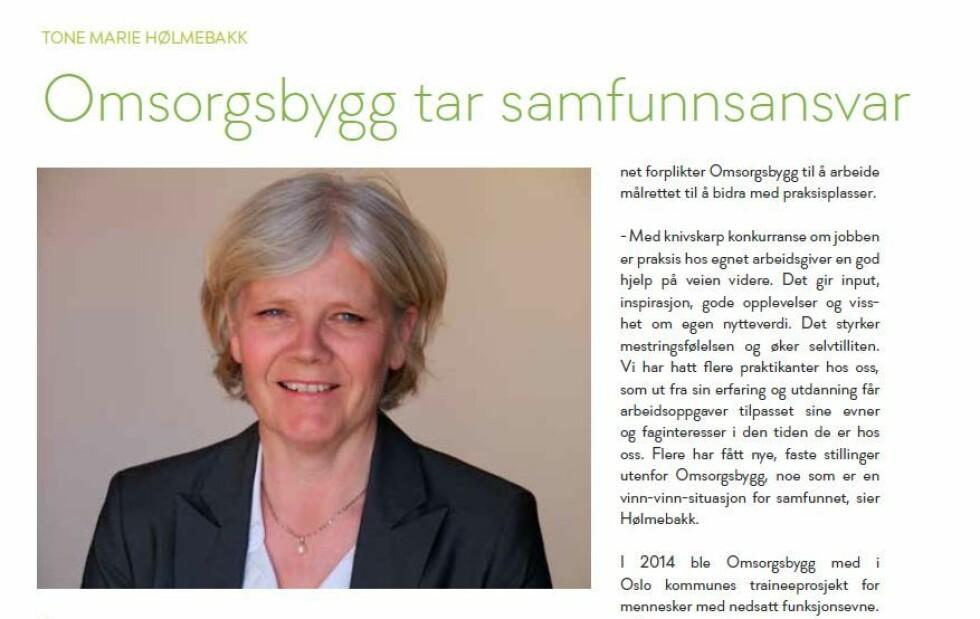 TOPPBYRÅKRAT: HR-direktør Tone Hølmebakk står på lista over de 100 best betalte byråkratene i Oslo kommune, og tjener over én million kroner i året. Her fra Omsorgsbyggs årsmelding fra 2014, der HR-direktøren blir intervjuet om praksisplasser i foretaket.
