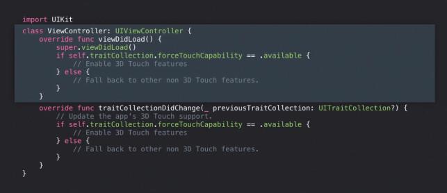 Apple anbefaler utviklere å sjekke om iPhone-modellen appen kjører på støtter 3D Touch. Nå som en av de nye mobilene ikke har funksjonen, blir dette desto viktigere. Skjermdump: Apple