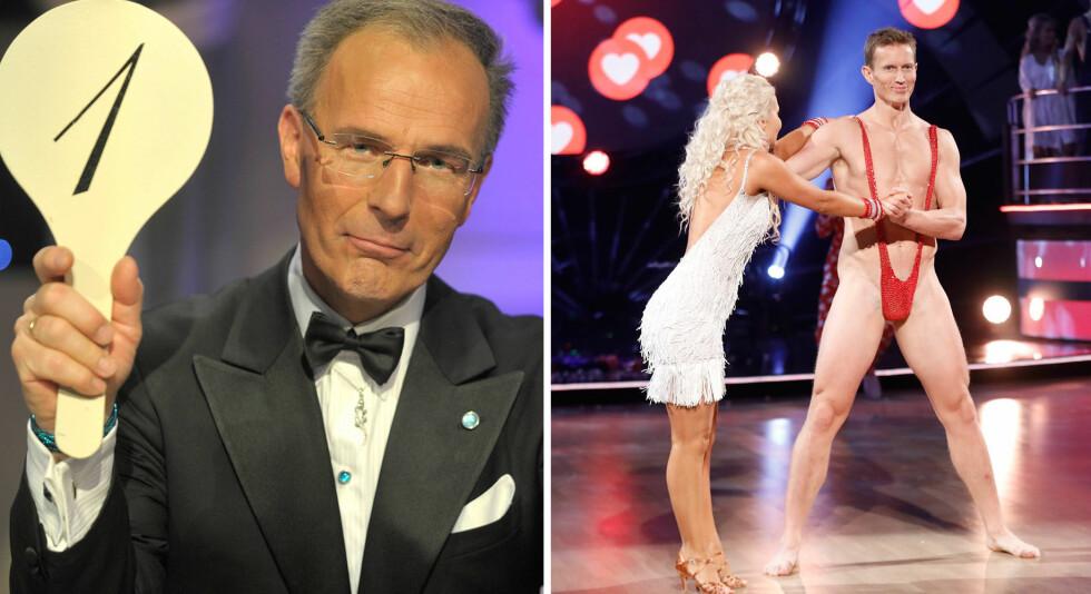 LITE IMPONERT: Tor Fløysvik, som var dommer i TV 2-programmet de ni første sesongene, gir Frank Løke bunnkarakter for lørdagens danseopptreden. Foto: NTB scanpix / TV 2