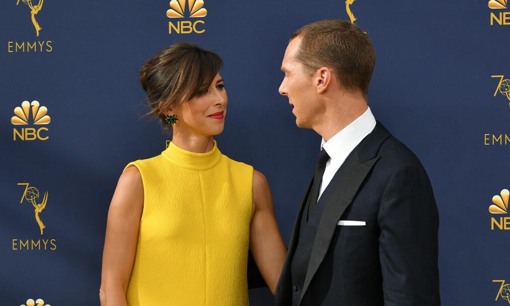 BLIR DE TREBARNSFORELDRE? Etter Emmy-utdelingen tidligere denne uken hevder flere at Benedict Cumberbatch og kona Sophie Hunter venter sitt tredje barn sammen. Foto: NTB Scanpix