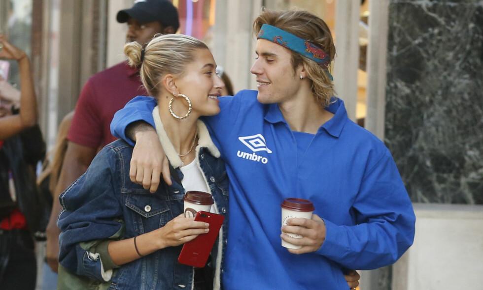 JUSTIN OG HAILEY: Det er bare to måneder siden sangstjernen Justin Bieber gikk ned på kne og fridde til 21 år gamle Hailey Baldwin. Foto: NTB scanpix
