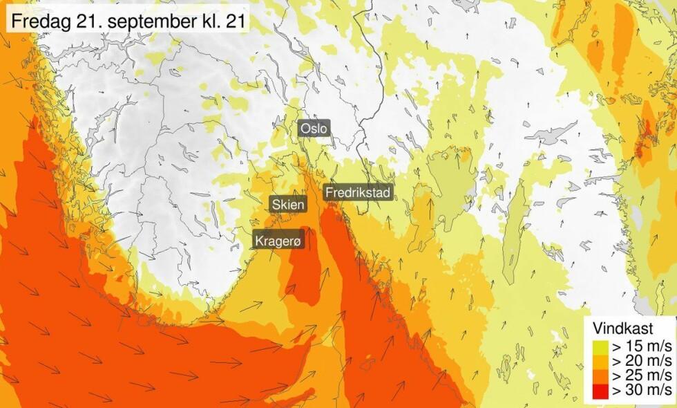 VIND: Det blir kraftig vind over store deler av Sør- og Østlandet i morgen ettermiddag og kveld. Illustrasjon: Meteorologisk Institutt