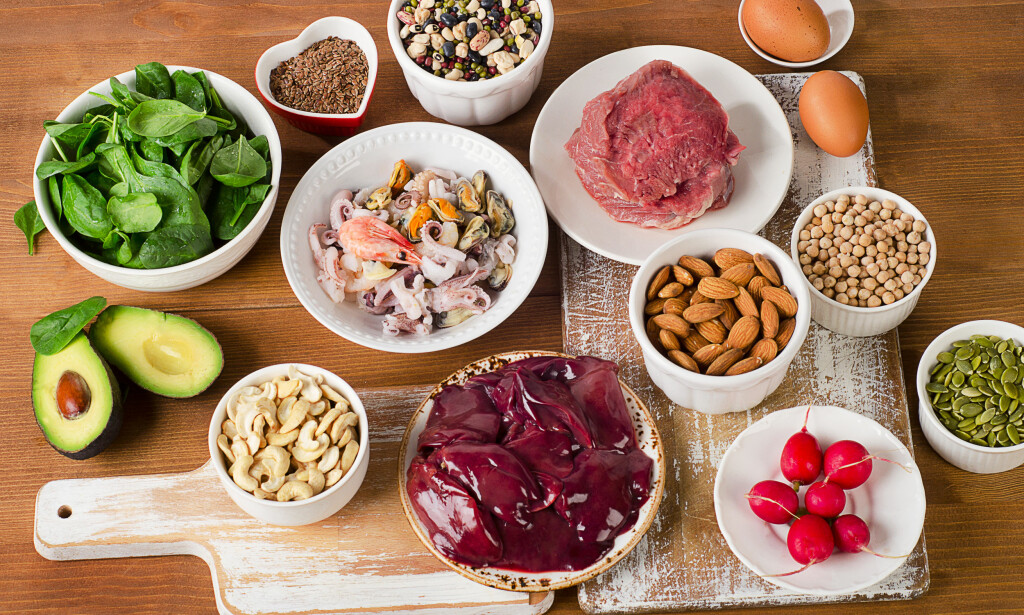 MATVARER MED MYE SINK: Skalldyr, kjøtt og fisk er de beste kildene, men mange matvarer inneholder sink. Foto: NTB / scanpix / Shutterstock