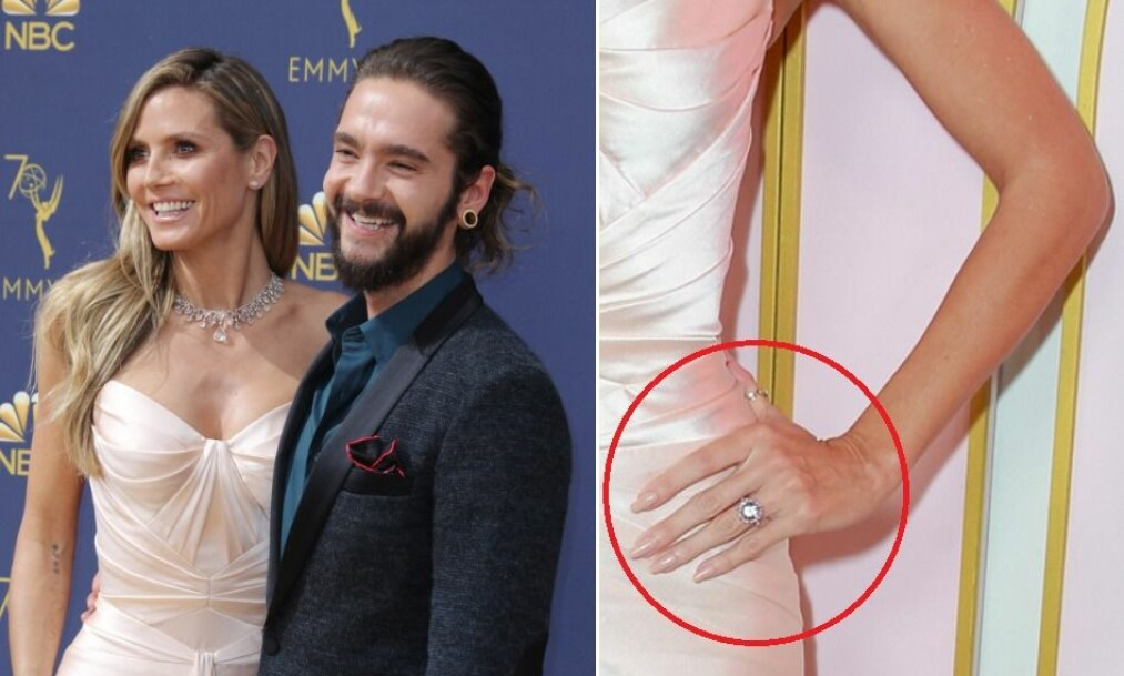 FORLOVELSESRYKTER: Da Heidi Klum og kjæresten Tom Kaulitz deltok på «Emmy»-utdelingen mandag, bet flere seg merke i supermodellens store, glitrende diamantring. Foto: NTB Scanpix