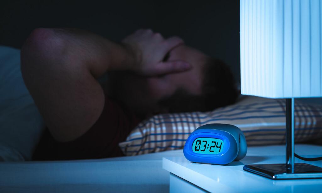 PROBLEMER MED Å FÅ SOVE: Insomni, manglende søvn, er den vanligste typen søvnproblem. Det kan både innebære problemer med å sovne, hyppig oppvåkninger eller for tidlig oppvåkning. Foto: NTB / Scanpix / Shutterstock