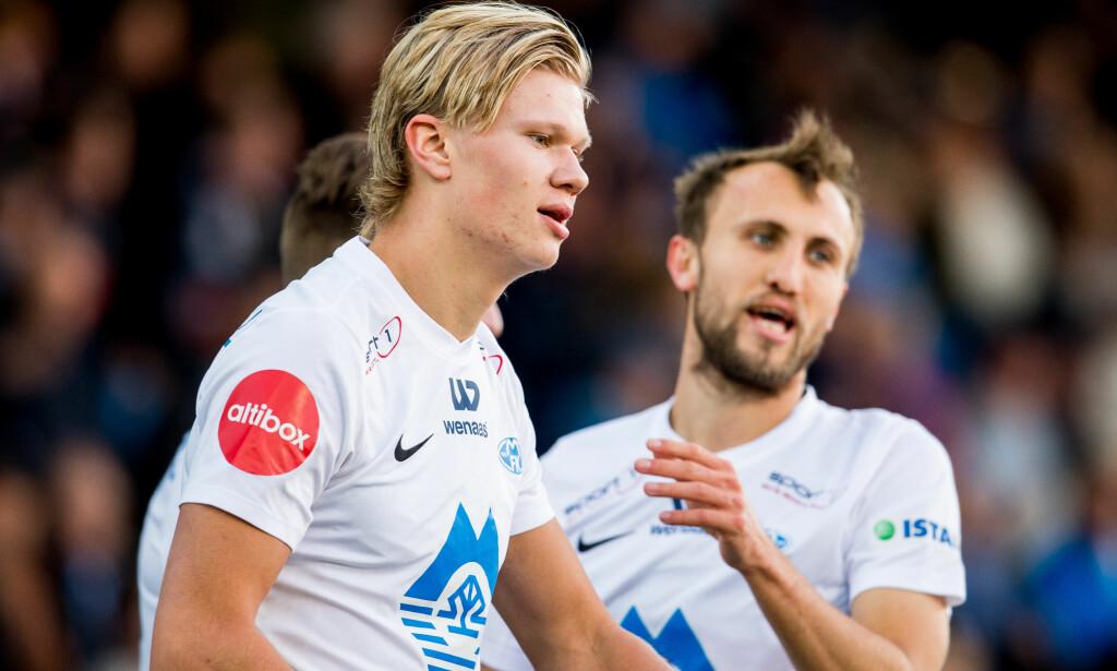 TIMÅLSSCORER: Erling Braut Håland har ti mål så langt denne sesongen. Her etter 1-0-scoringa i kveld. FOTO: Vegard Wivestad Grøtt/Bildbyrån