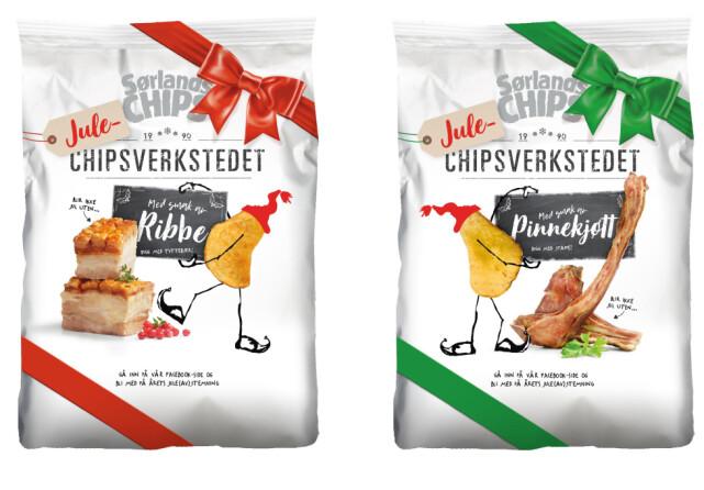Med smak av julemat: Sørlandschips lanserer to overraskende nye smaker; pinnekjøtt og ribbe. Chipsen er i butikk fra midten av oktober, og vil koste 29,90 kroner. lllustrasjon: Sørlandschips