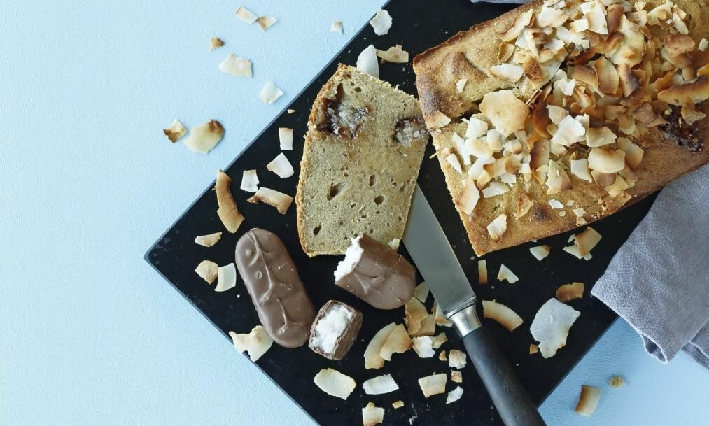 KAKE: Dette er bananbrødet for dem som elsker bananer, kokos og sjokolade. FOTO: Martin Tanggaard