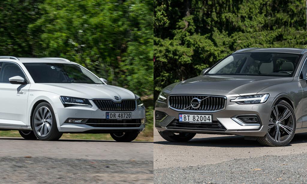 STASJONSVOGNER MED SUKSESS: Volvo V60 og Skoda Superb går mot strømmen . Foto: Jamieson Pothecary/Autofil