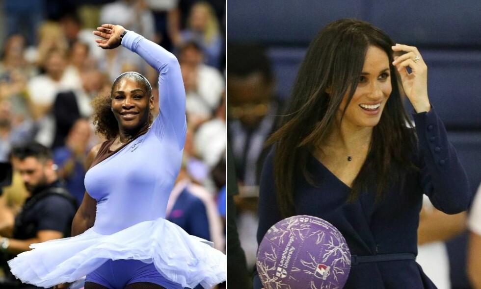 VENNINNER: Serena Williams og hertuginne Meghan har kjent hverandre i fire år, og har et svært tett bånd. Foto: NTB Scanpix