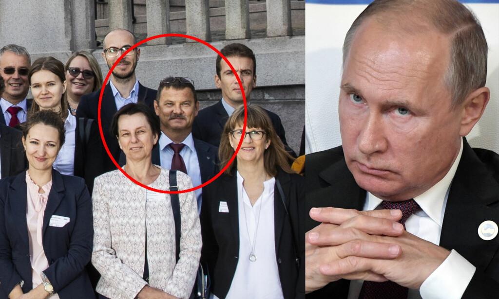 STERKE REAKSJONER: Russisk UD kommer med sterke reaksjoner etter at Mikhail Botsjkarev (51) ble arrestert av PST fredag. Russeren mistenkes for spionvirksomhet i Stortinget. Foto: Stortinget/NTB Scanpix