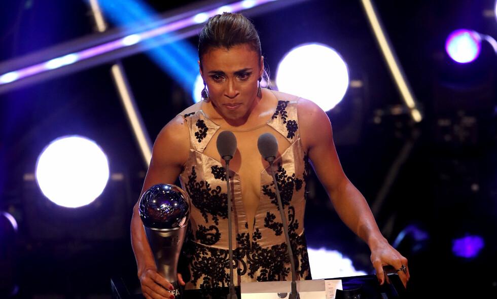 VANT: Marta fra Brasil ble kåret til verdens beste fotballspiller på en Fifa-kåring i går. Det stusser Norges landslagssjef på. Foto: NTB Scanpix