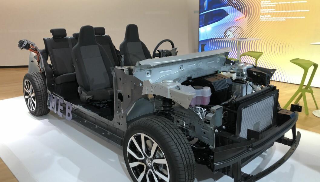 <strong>MEB:</strong> Den modulerbare elektriske plattformen skal dekke alle elbiler fra VW-konsernet, bortsett fra Porsche. Foto: Fred Magne Skillebæk.