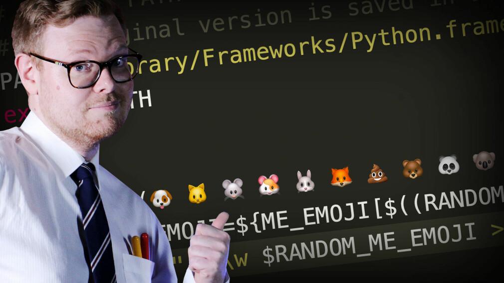 Emojier i terminalen din gjør dagen din liiiiiitt lysere, synes Jørgen. Fotomontasje: kode24