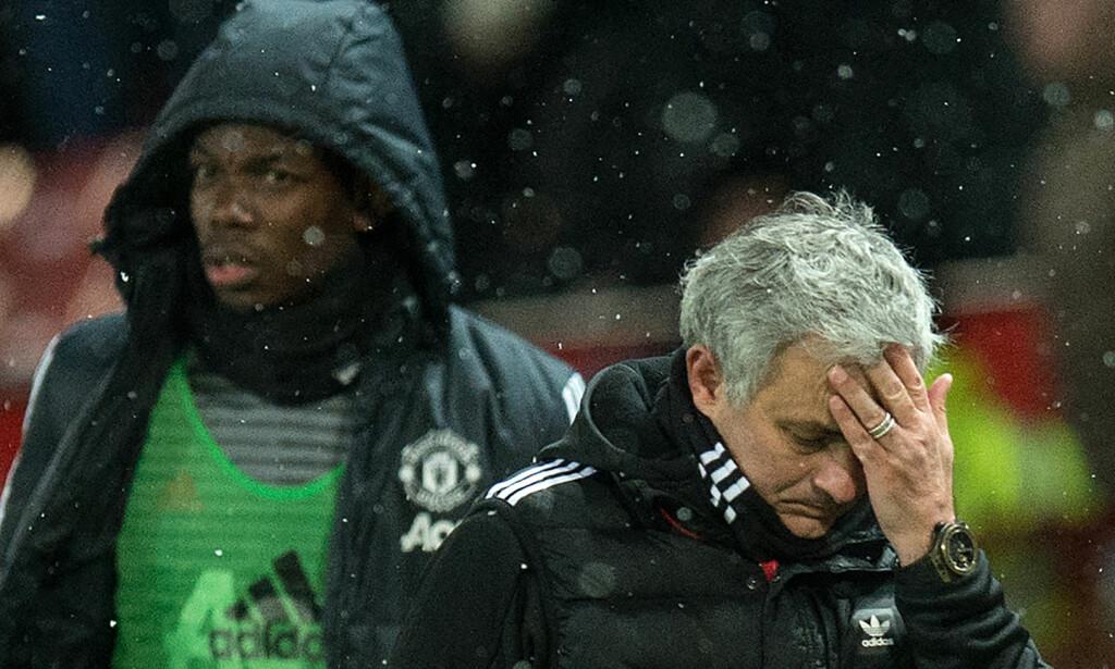 IKKE FORNØYD: José Mourinho er ikke fornøyd med Paul Pogba. Foto: Oli SCARFF / AFP / NTB Scanpix