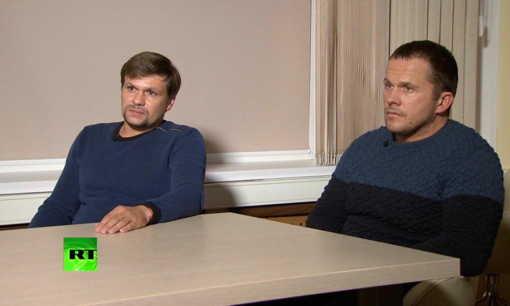 INTERVJUET: De to Skripal-mistenkte stilte til et meget spesielt intervju med Russia Today. Foto: RT / Reuters / NTB scanpix