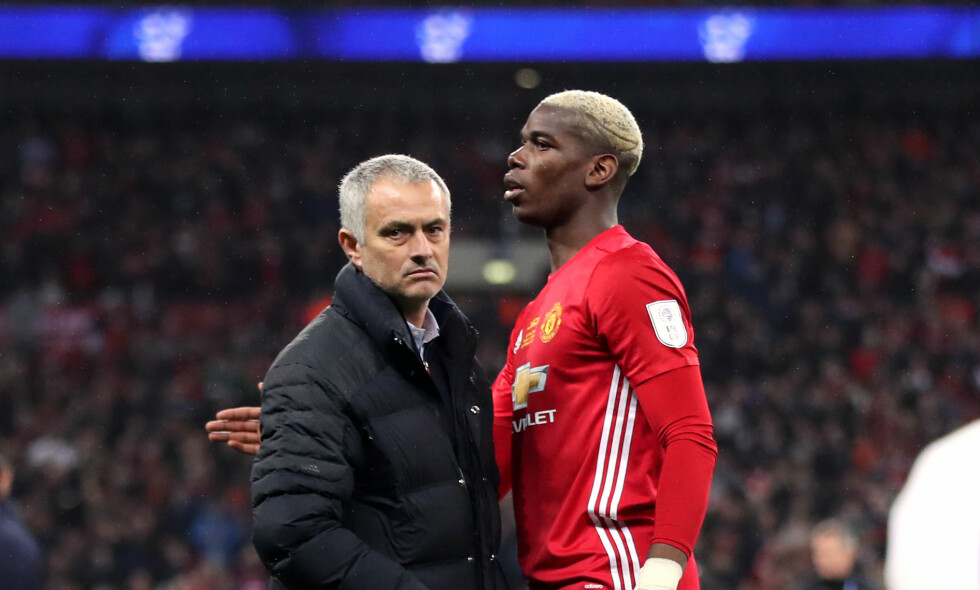 ISFRONT: Forholdet mellom José Mourinho og Paul Pogba virker ikke å være det beste. Foto: NTB Scanpix