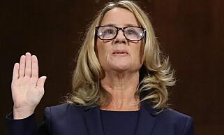 STERK HISTORIE: Psykologiprofessor Christine Blasey Ford fortalte om voldtektsforsøket hun hevder Brett M. Kavanaugh utsatte henne for på en fest på 80-tallet under torsdagens senatshøring. Foto: McNamee/Getty Images/AFP/NTB Scanpix