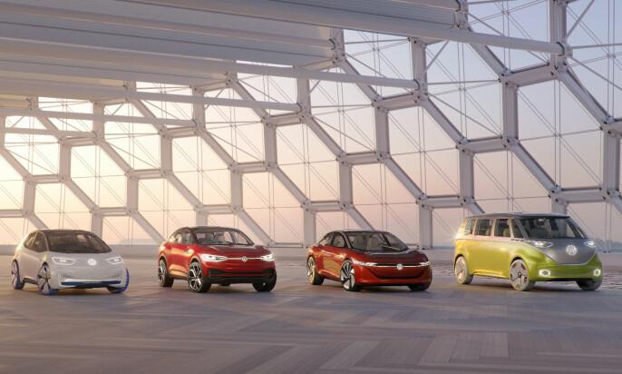I.D-familien: Dette er bilene som lanseres frem mot 2025. I.D Neo (t.v.) blir første bil ut. Foto: VW
