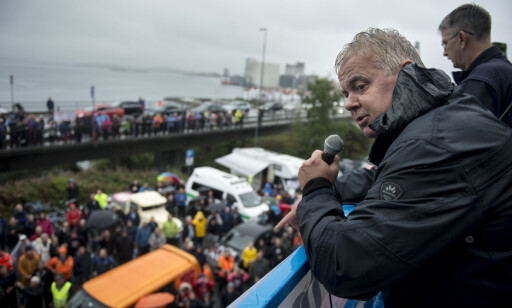 - SOLVIK-OLSEN VILLE IKKE HATT DET SÅNN: Leif Arne Moi Nilsen (Frp) under en folkeprotest i Stavanger 22. august i år mot bompenger. Foto: Carina Johansen, NTB Scanpix