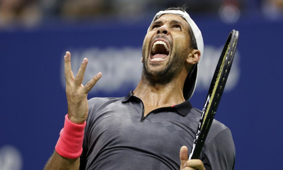 SINNA: Fernando Verdasco er kjent for å ha et sterkt temperament. I Shenzhen Open tok han det ut på en ballgutt. Foto: AP Photo/Adam Hunger/NTB scanpix