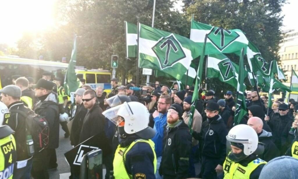 FORBUDT: Tingretten i Åbo har erklært at Den nordiske motstandsbevegelsen i Finland skal oppløses. Her fra en demonstrasjon i Göteborg i fjor. Foto: John Færseth