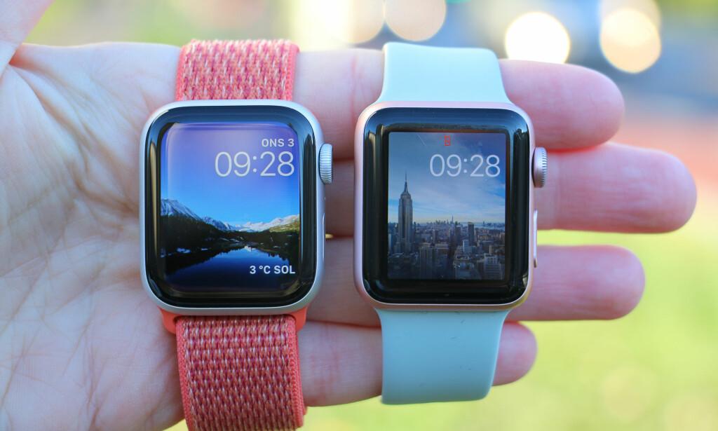 SMALERE RAMME: Apple Watch Series 4 (til venstre) har større skjerm enn tidligere modeller (Series 2 er avbilda til høyre). Her kan du også se at den svarte kanten rundt skjermen er smalere, noe som gjør at selve klokka ikke er veldig mye større, selv om den er bittelitt høyere og bredere. Foto: Kirsti Østvang