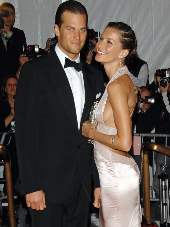 ETTER BABYSJOKKET: Tom Brady og Gisele Bündchen sammen på Met-gallaen i New York i 2008, året før de giftet seg - og året etter at han fikk barn med eksen sin. Foto: NTB scanpix